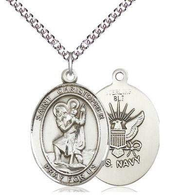 "St. Christopher Navy Medal Necklace - Sterling Silver - 1 Inch Tall x 3/4 Inch Wide with 24"" Chain"