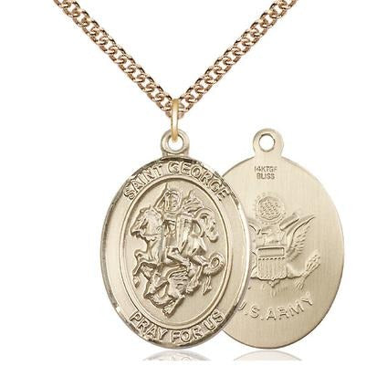 "St. George Army Medal Necklace - 14K Gold Filled - 1 Inch Tall x 3/4 Inch Wide with 24"" Chain"