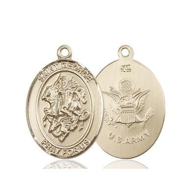 St. George Army Medal - 14K Gold - 1 Inch Tall x 3/4 Inch Wide