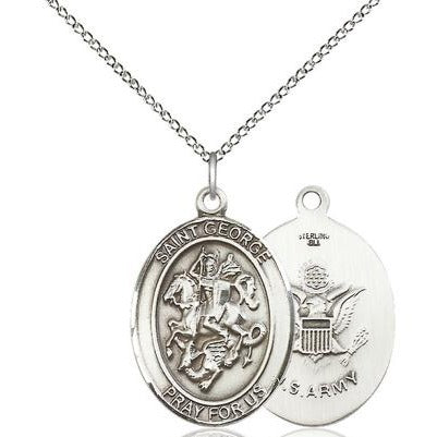 "St. George Army Medal Necklace - Sterling Silver - 1 Inch Tall x 3/4 Inch Wide with 18"" Chain"