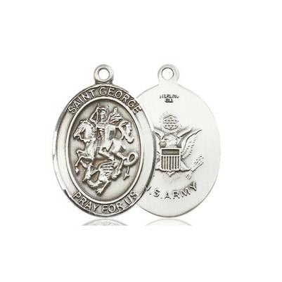 St. George Army Medal - Sterling Silver - 1 Inch Tall x 3/4 Inch Wide