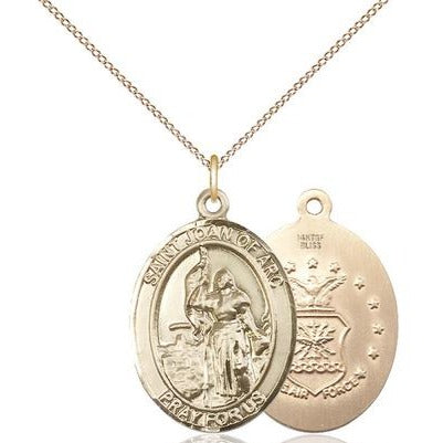 "St. Joan of Arc Air Force Medal Necklace - 14K Gold Filled - 1 Inch Tall x 3/4 Inch Wide with 18"" Chain"