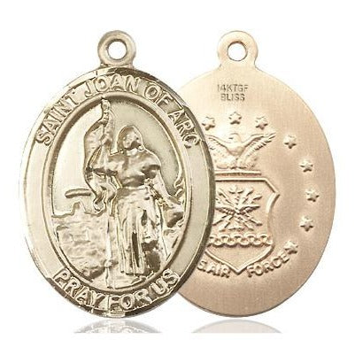 "St. Joan of Arc Air Force Medal Necklace - 14K Gold Filled - 1 Inch Tall x 3/4 Inch Wide with 24"" Chain"
