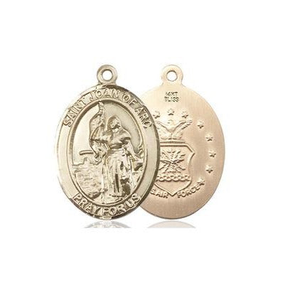 St. Joan of Arc Air Force Medal - 14K Gold - 1 Inch Tall x 3/4 Inch Wide