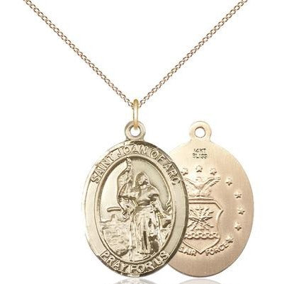 "St. Joan of Arc Air Force Medal Necklace - 14K Gold - 1 Inch Tall x 3/4 Inch Wide with 18"" Chain"