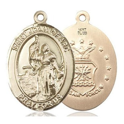"St. Joan of Arc Air Force Medal Necklace - 14K Gold - 1 Inch Tall x 3/4 Inch Wide with 24"" Chain"