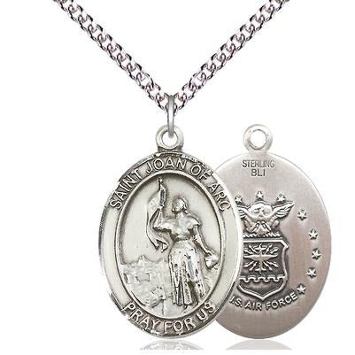 "St. Joan of Arc Air Force Medal Necklace - Sterling Silver - 1 Inch Tall x 3/4 Inch Wide with 24"" Chain"
