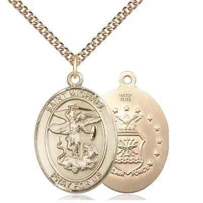 "St. Michael Air Force Medal Necklace - 14K Gold Filled - 1 Inch Tall x 3/4 Inch Wide with 24"" Chain"