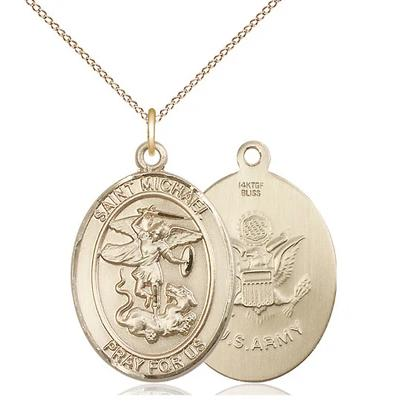 "St. Michael Army Medal Necklace - 14K Gold Filled - 1 Inch Tall x 3/4 Inch Wide with 18"" Chain"