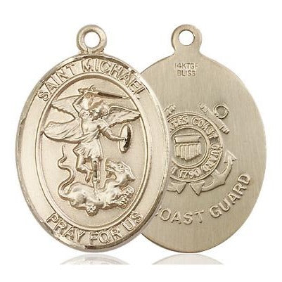 St. Michael Coast Guard Medal - 14K Gold Filled - 1 Inch Tall x 3/4 Inch Wide