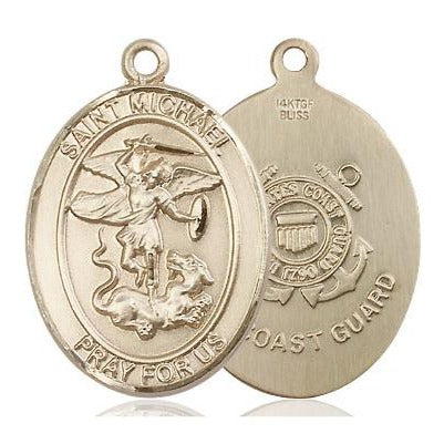 "St. Michael Coast Guard Medal Necklace - 14K Gold Filled - 1 Inch Tall x 3/4 Inch Wide with 24"" Chain"