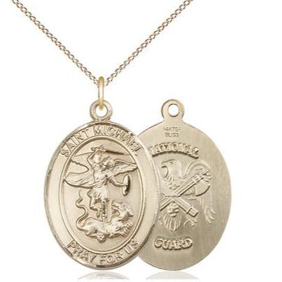"St. Michael National Guard Medal Necklace - 14K Gold Filled - 7/8 Inch Tall x 3/4 Inch Wide with 18"" Chain"