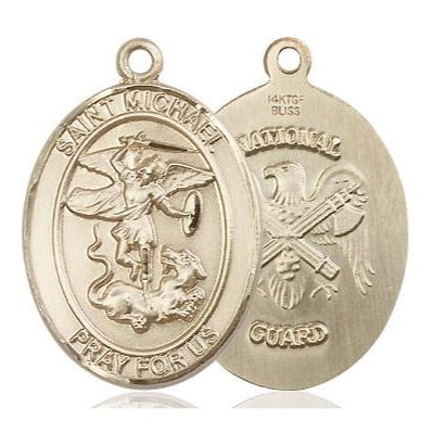 "St. Michael National Guard Medal Necklace - 14K Gold Filled - 1 Inch Tall x 3/4 Inch Wide with 18"" Chain"