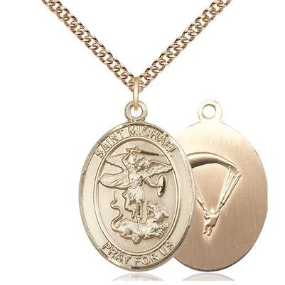 "St. Michael Paratrooper Medal Necklace - 14K Gold Filled - 1 Inch Tall x 3/4 Inch Wide with 24"" Chain"
