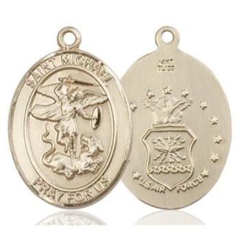 St. Michael Air Force Medal - 14K Gold - 1 Inch Tall x 3/4 Inch Wide
