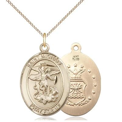 "St. Michael Air Force Medal Necklace - 14K Gold - 3/4 Inch Tall x 1/2 Inch Wide with 18"" Chain"