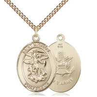 "St. Michael Army Medal Necklace - 14K Gold - 1 Inch Tall x 3/4 Inch Wide with 24"" Chain"