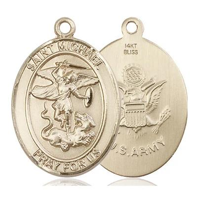 "St. Michael Army Medal Necklace - 14K Gold - 1 Inch Tall x 3/4 Inch Wide with 18"" Chain"