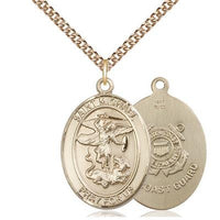 "St. Michael Coast Guard Medal Necklace - 14K Gold - 1 Inch Tall x 3/4 Inch Wide with 24"" Chain"