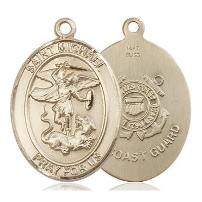 St. Michael Coast Guard Medal - 14K Gold - 1 Inch Tall x 3/4 Inch Wide