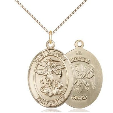 "St. Michael National Guard Medal Necklace - 14K Gold - 1 Inch Tall x 3/4 Inch Wide with 18"" Chain"