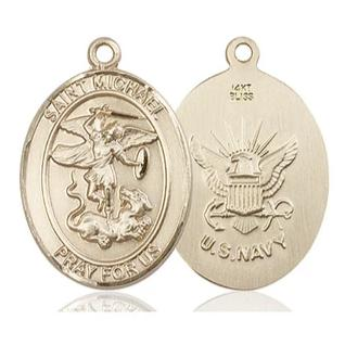 St. Michael Navy Medal - 14K Gold - 1 Inch Tall x 3/4 Inch Wide