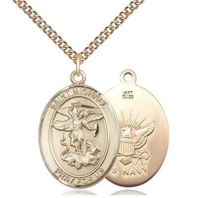 "St. Michael Navy Medal Necklace - 14K Gold - 1 Inch Tall x 3/4 Inch Wide with 24"" Chain"