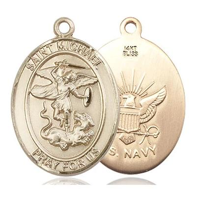 "St. Michael Navy Medal Necklace - 14K Gold - 1 Inch Tall x 3/4 Inch Wide with 18"" Chain"