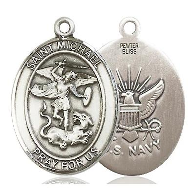 St. Michael Navy Medal - Pewter - 1 Inch Tall x 3/4 Inch Wide