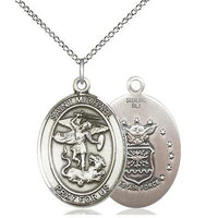 "St. Michael Air Force Medal Necklace - Sterling Silver - 3/4 Inch Tall x 1/2 Inch Wide with 18"" Chain"
