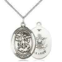 "St. Michael Army Medal Necklace - Sterling Silver - 1 Inch Tall x 3/4 Inch Wide with 18"" Chain"