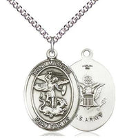 "St. Michael Army Medal Necklace - Sterling Silver - 1 Inch Tall x 3/4 Inch Wide with 24"" Chain"
