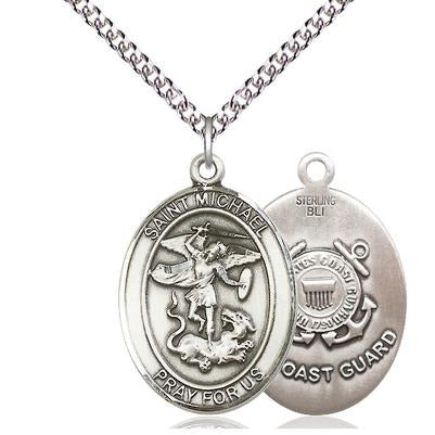 "St. Michael Coast Guard Medal Necklace - Sterling Silver - 1 Inch Tall x 3/4 Inch Wide with 24"" Chain"