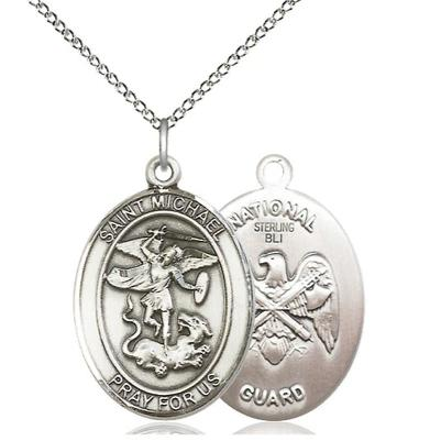 "St. Michael National Guard Medal Necklace - Sterling Silver - 1 Inch Tall x 3/4 Inch Wide with 18"" Chain"