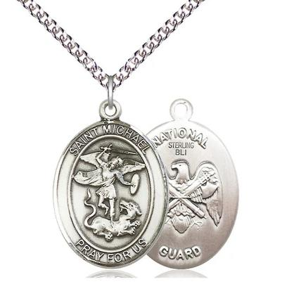 "St. Michael National Guard Medal Necklace - Sterling Silver - 1 Inch Tall x 3/4 Inch Wide with 24"" Chain"