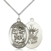 "St. Michael Navy Medal Necklace - Sterling Silver - 1 Inch Tall x 3/4 Inch Wide with 18"" Chain"
