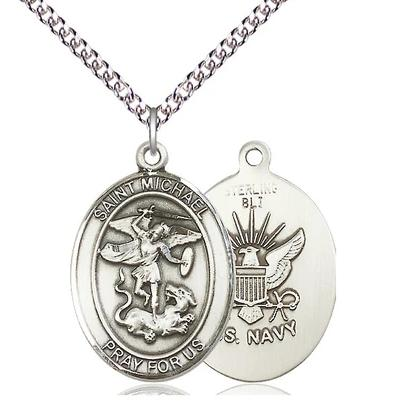 "St. Michael Navy Medal Necklace - Sterling Silver - 1 Inch Tall x 3/4 Inch Wide with 24"" Chain"