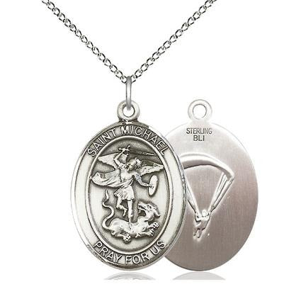 "St. Michael Paratrooper Medal Necklace - Sterling Silver - 1 Inch Tall x 3/4 Inch Wide with 18"" Chain"
