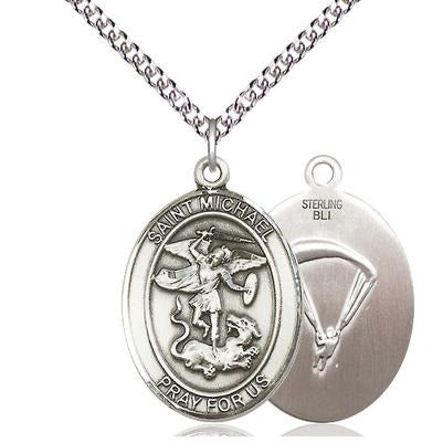 "St. Michael Paratrooper Medal Necklace - Sterling Silver - 1 Inch Tall x 3/4 Inch Wide with 24"" Chain"