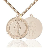 "Miraculous Medal Necklace - 14K Gold Filled - 1 Inch Tall by 78 Inch Wide with 24"" Chain"