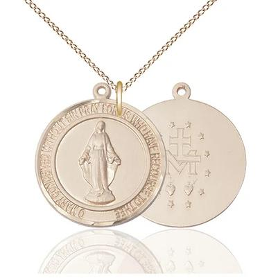 "Miraculous Medal Necklace - 14K Gold - 1 Inch Tall by 7/8 Inch Wide with 18"" Chain"