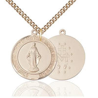 "Miraculous Medal Necklace - 14K Gold - 1 Inch Tall by 7/8 Inch Wide with 24"" Chain"