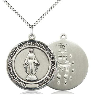 "Miraculous Medal Necklace - Sterling Silver - 1 Inch Tall by 7/8 Inch Wide with 18"" Chain"