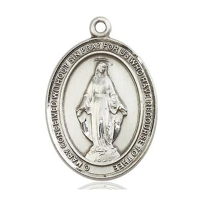 "Miraculous Medal Necklace - Sterling Silver - 1 Inch Tall by 3/4 Inch Wide with 24"" Chain"