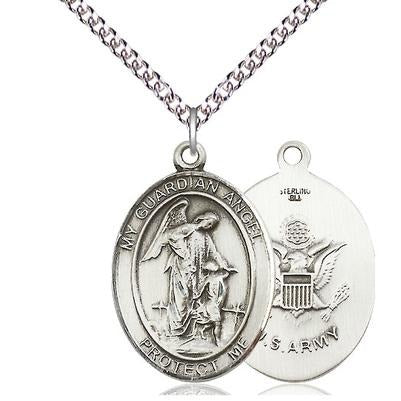 "Guardian Angel Army Medal Necklace - Sterling Silver - 1 Inch Tall x 3/4 Inch Wide with 24"" Chain"
