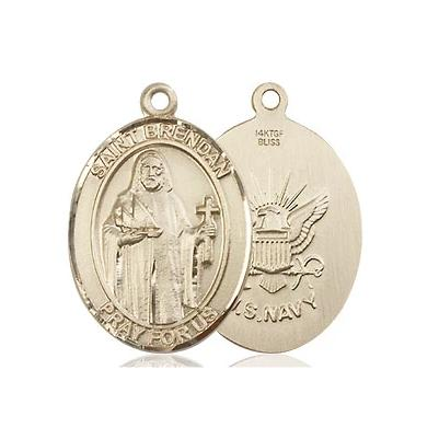 St. Brendan Navy Medal - 14K Gold Filled - 3/4 Inch Tall x 1/2 Inch Wide
