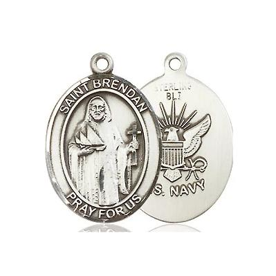 "St. Brendan Navy Medal Necklace - Sterling Silver - 3/4 Inch Tall x 1/2 Inch Wide with 18"" Chain"