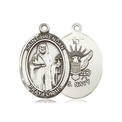 "St. Brendan Navy Medal Necklace - Sterling Silver - 3/4 Inch Tall x 1/2 Inch Wide with 24"" Chain"