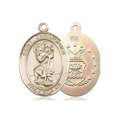 "St. Christopher Air Force Medal Necklace - 14K Gold Filled - 3/4 Inch Tall x 1/2 Inch Wide with 18"" Chain"