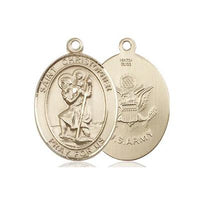 "St. Christopher Army Medal Necklace - 14K Gold Filled - 3/4 Inch Tall x 1/2 Inch Wide with 24"" Chain"